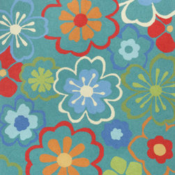 """Kas - Floral Splash Blue Sonesta Floral 7'6"""" Round Kas Rug  by RugLots - Join us in the fun as you coast through our Sonesta Collection. Hand-hooked in China of 100% polyester, these rugs will add pizzazz to any room throughout your home. Some are fun, some are flirty"""