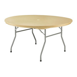PRE Sales - 60 Inch Round Table - Weather resistant and maintenance free. 0.75 in. lip for skirting. SGS tested and approved. Lightweight - easy to grip and carry. Auto-locking steel wishbone legs and steel frame. Easy set up and take down. Stain-resistant surfaces won crack or splinter. Heat and water resistant. Legs 15 in. from ends on 6 & 8 foot tables for dining comfort. 5 year limited warranty. 60 in. L x 60 in. W x 30 in. H (72 lbs)Our Rhino tables are built with high-density polyethylene resin, and steel legs and frame. These are HEAVY-DUTY, plastic tables (not Lite Duty, like common blow mold tables). Rhinos have been tested by SGS Labs, and rated at 2400 lbs. capacity (unlike blow mold tables, rated at only 400 lbs.). Weather resistant and low maintenance, Rhinos never need sanding or refinishing. Rounded corners help to avoid damage. This lightweight table is easy to set up and take down. Gravity locking, wishbone legs are standard, and the tops have a ¾ inch edge to allow for skirting. Standard table height is 30 (dining height), except for the children's table. Table width is 30, except for the 60 Round.