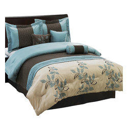 Bed Linens - Pasadena 7-Piece Comforter Set, King-7PC-Set, Blue - 7 Piece Luxury Bedding Set