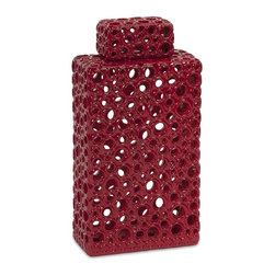 iMax - iMax Carson Short Cutwork Urn X-98578 - With a striking and bold red color, this short modern stylized cutwork urn features a rectangular geometric form accented by organically derived circle cut outs.