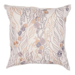 """Jaipur Rugs - Jaipur Rugs Contemporary Textural Pattern Flax Warm Mauve Chambrey // 18""""X18"""" - Soft shades of neutral and dusty pastel are the cornerstone of this whimsical feminine range of pillows made from poly dupione. The collection features imagery of butterflies, florals, and birds."""