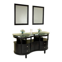 Fresca - Fresca Unico Modern Bathroom Vanity - This is a double sink version of the Simpatico Vanity (FVN3330ES). This double sink espresso finished vanity is really a contemporary twist on baroque furniture. Clear glass basin and a great wide mirror really make this ensemble great for those looking to not just update their location but keep it classic.
