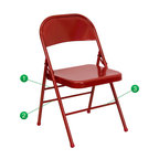 Flash Furniture - Flash Furniture Hercules Series Metal Folding Chair - Red - When in need of temporary seating this heavy duty all steel red metal chair by Flash Furniture is perfect. This portable folding chair can be used for parties, graduations, sporting events, school functions and in the classroom. This chair will be the perfect addition in the home when in need of extra seating to accommodate guests. The chair will not take up anywhere near as much space as chairs that cannot fold when it comes time to clean up. This economically priced chair will endure some heavy usage with an 18-gauge steel frame, triple braced and leg strengthening support bars. [HF3-MC-309AS-RED-GG]