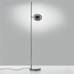 Artemide - Artemide | Reall Floor Lamp - Design by Carlotta de Bevilacqua & Paolo Dell'Elce.By Artemide.Visual lightness and thermodynamics are the main characteristics of this project: the head, is appropriately shaped and perforated to form a permeable visual interface for the space where it is placed and facilitates heat exchange, guaranteeing optimum dissipation of the heat produced by the LED light source; it rotates on two axes and moves vertically on its stem, allowing users to interact with the device and to determine the light most suited to their needs.The Reall Floor Lamp features a body in die-cast recycled aluminum with a rotational head. Dimmable.