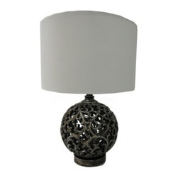 YOSEMITE HOME DECOR - 1 Light Portable Lamp Collections in Antique Black - - 21.25 Inch Portable Table Lamp