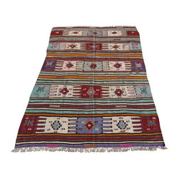 """Pre-owned Decorative Afyon Kilim Rug 4'5"""" x 6'8"""" - A red Turkish kilim rug from Southern Turkey. It's a 100% handwoven rug woven on wooden loom by flat weave. It was made of finest animal fiber that of wool, on organic cotton fringes. All the fibers were colored with vegetable dyes in the area... It is approximately 60 years old.    Care and Maintenance:  Regular vacuum cleaning and/or shaking the rug will remove loose dirt and fluff pile.  Immediate attention is required in case of spills. Liquids should be blotted with a clean undyed cloth, which is to be pressed firmly all around for maximum absorption.    Note from seller: all our rug's are handmade, professionally washed before listed & ready for use. Please kindly note that; the image color may differ from the actual item colors and colors may differ from screen to screen. Make sure to see our other listings...Good Luck and Happy Shopping!"""