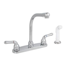 "PREMIER - Sanibel Lead-Free Two-Handle Kitchen Faucet with Spray, Chrome - Modernize your kitchen's appearance with Sanibel's distinguished styling. The unique ""L-shaped"" spout or the Premier Sanibel kitchen faucet enables convenient access to filling and rinsing large pots, vases, and cookware. Its high-rise swivel spout rotates a full 360 degrees for maximum sink coverage. This Premier faucet features washerless cartridges, two lever handles, a lead-free brass waterway, a powerful 2. 2 gallons per minute flow rate, a chrome-plated finish, and a white sprayer with a 48-inch reinforced hose. It complies with the requirements of the Uniform Plumbing Code and the Americans with Disabilities Act. The faucet includes Premier's industry-leading Limited Lifetime Warranty. This Premier faucet has been certified to meet the strict lead-free standards of California and Vermont."