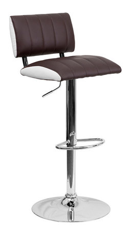 Flash Furniture - Flash Furniture Two Tone Brown & White Vinyl Adjustable Height Bar Stool - This designer chair will make an attractive statement in the home. The white contrast side upholstery provides a very appealing look. The height adjustable swivel seat adjusts from counter to bar height with the handle located below the seat. The base and footrest have a chrome finish to complement the chair's modern design.