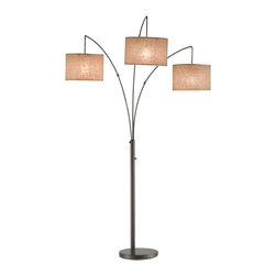 "Adesso Inc. - Trinity Arc Lamp - The three drum shades of this large metal arc lamp suspend from curved metal poles. The four-way rotary switch on pole operates as follows: right only, left and center only, all on, all off. Each shade takes one 100 Watt incandescent or 26 Watt CFL bulb. Antique bronze with beige burlap shades. 82"" Height (Shade clearances: 54.5"", 57"", and 61.5"" from floor), 44"" Width, 43"" Depth. 12.5"" Diameter base. Drum shades nest for smaller cube in shipping - all are 7 5/8"" Height; 11"", 11.5"" and 12"" Diameters."