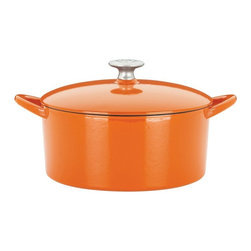 Mario Batali by Dansk - Mario Batali by Dansk Classic 4 qt. Round Dutch Oven - Persimmon - 826793 - Shop for Dutch Ovens from Hayneedle.com! Mario Batali is known for his way with modern Italian dishes and his bright orange cooking clogs. The Mario Batali by Dansk Classic 4 Sq. Dutch Oven in Persimmon combines his kitchen know-how with his own brand of style. This gorgeous cast iron Dutch oven has a vivid persimmon enamel and works beautifully on all gas electric induction or ceramic-top stoves. It's also dishwasher-safe and includes a lifetime warranty. Savvy and stylish!