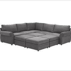 """Pearce Upholstered 6-Piece Pit Sectional, everydaysuede(TM) Metal Gray - The exceptional versatility of our Pearce Collection lets you create an intimate conversation area or an expansive seating arrangement. Distinguished by its soft matte upholstery, generous rolled arms and welted seams, this 2-piece L- shaped sectional adds four ottomans to create a superbly relaxing spot for everyone to gather. 113"""" wide x 115"""" deep x 38"""" high Extra-deep cushions, welted seams and hardwood feet. Down blend-wrapped seat cushions; extra-thick foam core. Grand ottoman cushions have a polyester wrap. Kiln-dried hardwood frame. Includes left-arm return sofa, right-arm love seat, five seat cushions and six back cushions, and four grand ottomans. Expertly crafted by master upholsterers at the Pottery Barn furniture facility in the heart of North Carolina. Catalog / Internet only."""