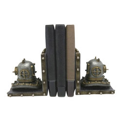 """Helmet Bookends - The helmet bookends measure 11"""" x 4.4"""" x 5.75"""". These bookends are made of polystone. They are heavy enough to support any size book. They make a great gift, impressive decoration  work well in many decor environments."""