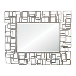 "Uttermost - Reena Metal Modern Mirror - Metal Rectangles Welded Together In A Random Pattern Finished In High Gloss Silver Leaf. Mirror Features A Generous 1 1/4"" Bevel."
