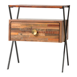 Marco Polo Imports - Parker Sadie End Table - This elegant side table combines the rustic charm of natural wood with contemporary designs, giving new life to salvaged wood. Its retro shapes and pulls give it a hand-crafted, singular look, ensuring its uniqueness.