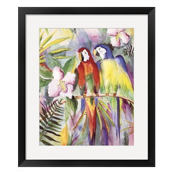Parrots On A Branch - Fine Art Print of Watercolor by Terry Madden - Parrots On A Branch - Fine Art Print of Watercolor by Terry Madden