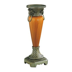 Lite Source - Lite Source C4993 Candle Holder Antique Gold - Candle Holder Antique Gold With Ceramic Body from the Goldie Series