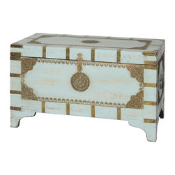 Everybody's Ayurveda - Distressed Wooden Rectangular Trunk in Coastal Blue - Coastal Blue Distressed Wooden Rectangular Trunk. Mango Wood. Made in India. Beautiful for a coastal home, this light blue trunk has old world comfort. Hand crafted in India, the distressed finish and antiqued hardware are a perfect match. Generously sized to hold seasonal sweaters, blankets and more!Package Includes:Wooden Trunk OnlyDimensions:Width: 31.5 inch