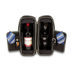 """Picnic Time - Estate Deluxe Wine Tote - Black and Gray / Blue Stripe - Sleek and sophisticated, the Estate deluxe wine tote features ThermoGuard insulation and has two compartments: one for a bottle of wine and the other to hold the amenities included. It's made of 600D polyester and features an adjustable shoulder strap that makes it easy to carry. The Estate includes: 2 wine glasses (acrylic, 8 oz.), 1 stainless steel waiter style corkscrew, 1 bottle stopper (nickel-plated), and 2 napkins (100% cotton, 14 x 14""""). The Estate deluxe wine tote is perfect for picnics, concerts, or travel and makes a wonderful gift for those who enjoy wine. Includes: 2 wine glasses (acrylic, 8 oz.), 1 stainless steel waiter style corkscrew, 1 bottle stopper (nickel-plated), and 2 napkins (100% cotton, 14 x 14"""", Blue and Gray Legacy Stripe design)"""