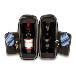 "Picnic Time - Estate Deluxe Wine Tote - Black and Gray / Blue Stripe - Sleek and sophisticated, the Estate deluxe wine tote features ThermoGuard insulation and has two compartments: one for a bottle of wine and the other to hold the amenities included. It's made of 600D polyester and features an adjustable shoulder strap that makes it easy to carry. The Estate includes: 2 wine glasses (acrylic, 8 oz.), 1 stainless steel waiter style corkscrew, 1 bottle stopper (nickel-plated), and 2 napkins (100% cotton, 14 x 14""). The Estate deluxe wine tote is perfect for picnics, concerts, or travel and makes a wonderful gift for those who enjoy wine. Includes: 2 wine glasses (acrylic, 8 oz.), 1 stainless steel waiter style corkscrew, 1 bottle stopper (nickel-plated), and 2 napkins (100% cotton, 14 x 14"", Blue and Gray Legacy Stripe design)"