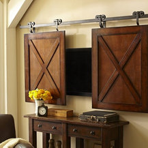 Shop Sliding Doors Above Fireplace To Hide Flatscreen Tv Products on Houzz