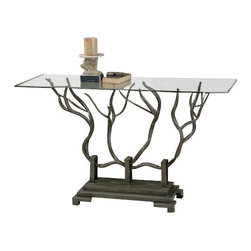 Uttermost Esher Bronze Console Table - Hand forged bronze metal in a delicate twig design beneath clear, tempered glass. Hand forged bronze metal shaped in a delicate twig design beneath clear, tempered glass.