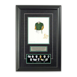"Heritage Sports Art - Original art of the MLB 1974 Oakland Athletics uniform - This beautifully framed piece features an original piece of watercolor artwork glass-framed in an attractive two inch wide black resin frame with a double mat. The outer dimensions of the framed piece are approximately 17"" wide x 24.5"" high, although the exact size will vary according to the size of the original piece of art. At the core of the framed piece is the actual piece of original artwork as painted by the artist on textured 100% rag, water-marked watercolor paper. In many cases the original artwork has handwritten notes in pencil from the artist. Simply put, this is beautiful, one-of-a-kind artwork. The outer mat is a rich textured black acid-free mat with a decorative inset white v-groove, while the inner mat is a complimentary colored acid-free mat reflecting one of the team's primary colors. The image of this framed piece shows the mat color that we use (Hunter Green). Beneath the artwork is a silver plate with black text describing the original artwork. The text for this piece will read: This original, one-of-a-kind watercolor painting of the 1974 Oakland Athletics uniform is the original artwork that was used in the creation of this Oakland Athletics uniform evolution print and tens of thousands of other Oakland Athletics products that have been sold across North America. This original piece of art was painted by artist Bill Band for Maple Leaf Productions Ltd.  1974 was a World Series winning season for the Oakland Athletics. Beneath the silver plate is a 3"" x 9"" reproduction of a well known, best-selling print that celebrates the history of the team. The print beautifully illustrates the chronological evolution of the team's uniform and shows you how the original art was used in the creation of this print. If you look closely, you will see that the print features the actual artwork being offered for sale. The piece is framed with an extremely high quality framing glass. We have used this glass style for many years with excellent results. We package every piece very carefully in a double layer of bubble wrap and a rigid double-wall cardboard package to avoid breakage at any point during the shipping process, but if damage does occur, we will gladly repair, replace or refund. Please note that all of our products come with a 90 day 100% satisfaction guarantee. Each framed piece also comes with a two page letter signed by Scott Sillcox describing the history behind the art. If there was an extra-special story about your piece of art, that story will be included in the letter. When you receive your framed piece, you should find the letter lightly attached to the front of the framed piece. If you have any questions, at any time, about the actual artwork or about any of the artist's handwritten notes on the artwork, I would love to tell you about them. After placing your order, please click the ""Contact Seller"" button to message me and I will tell you everything I can about your original piece of art. The artists and I spent well over ten years of our lives creating these pieces of original artwork, and in many cases there are stories I can tell you about your actual piece of artwork that might add an extra element of interest in your one-of-a-kind purchase."
