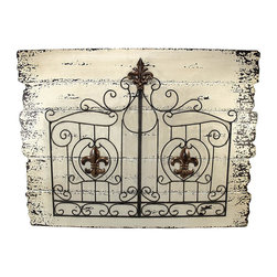 Zeckos - Metal Fleur de Lis Double Gate on Wood Planks Wall Hanging - This double gate wall hanging adds a unique accent to your home or restaurant. The wrought iron double gate is decorated with bronze fleur de lis accents and is attached to a wooden board, painted to look like distressed planks of wood. This piece measures 31 1/2 inches long, 23 3/4 inches tall, 2 inches deep, and mounts to the wall with 2 nails or screws.