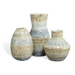 Interlude Home - Interlude Home Asha Vases - These Interlude Home Vases are crafted from Ceramic and finished in Blue and Tan  and Cream.  Overall sizes are: 5 in. W x  5 in. D x 10 in. H.  5 in.  in. W x  5 in.  in. D x  8 in. H.  6 in. W x  6 in. D x  7 in. H.