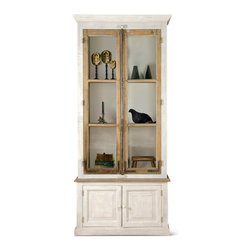 Kathy Kuo Home - Portes Antique French Country 2 Door White Pine Cabinet Curio - Salvaged from French chateaus, these unique windows and doors set the scene for one-of-a-kind cabinetry and storage. Each handcrafted piece has six ample shelves behind glass and two lower cabinets behind pine doors.