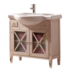 Macral - Alessandria Bathroom Vanity - Vintage-style appeal for your contemporary home. This charming solid wood vanity features two doors, two drawers and delightfully ornate hardware. Combine it with the matching Alessandria mirror and linen cabinet for a unique coordinated look for your bathroom.
