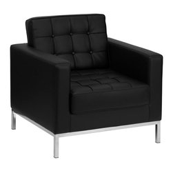 """Flash Furniture - HERCULES Lacey Series Contemporary Black Leather Chair with Stainless Steel Fram - This attractive black leather reception chair will complete your upscale reception area. The design of this chair allows it to adapt in a multitude of environments with its button tufted cushions and stainless steel frame.; Lacey Series Reception Chair; Made of Eco-Friendly Materials; Black Leather Upholstery; Button Tufted Seat and Back; Fixed Seat and Back Cushion; Foam Filled Cushions; Stainless Steel Frame Finish; Assembly Required: Yes; Country of Origin: China; Warranty: 2 Years; Weight: 56 lbs.; Dimensions: 32""""H x 33""""W x 31""""D"""