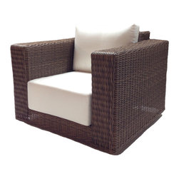 Wicker Paradise - Outdoor Wicker Swivel Chair Sunbrella Natural Cushions - Patio Style - Deep seating for deep relaxation. This extremely stylish outdoor chair is made from woven polyethylene wicker on an aluminum frame, topped with ultra-plush 9-inch thick cushioning. Your favorite seat in the house might not be inside your house anymore.
