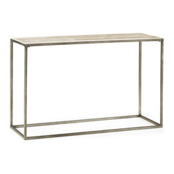 Hammary - Hammary Modern Basics Sofa Table w/ Textured Bronze Base - Sofa Table w/ Textured Bronze Base belongs to Modern Basics Collection by Hammary Spice up your living room with a collection that offers style for modern living. This occasional table collection consists of a combination of Natural Travertine and Bronze metal for a sleek, contemporary look. Featuring simple silhouettes of circles, rectangles, and squares, you can be sure that this collection can fit in with just about any style decor. Simple, straight lines make up the leg supports, while a simple palette of travertine makes up the table tops. What a wonderful way to bring in an element of modern living. As stunning as the items it displays, this sofa table embodies modern sophistication. The modern blend of a clean lined Bronze frame and Natural Travertine table top make for an impeccable visual. Its elongated surface is perfect for displaying plants, photographs and other home decor accessories.  Sofa Table (1)