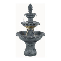 Kenroy Home - Kenroy Home 53200 Two Light Floor Fountain Costa Brava Collection - In Costa Brava you'll experience Barcelona's stunning fountain attractions. In your backyard you can enjoy the sight and sounds inspired by such water features day or night with this 3 tiered and lighted Mediterranean classic.Requires 2 10w 12 V (MR-11) Base Bulbs (Included)4 Bulbs Included