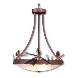 Avalanche-Ranch - Pine Cone Art: Crestline Foyer Chandelier Tall - Rustic Chandeliers with Pine Cone artwork - Takes (3) 60W Medium bulb(s)