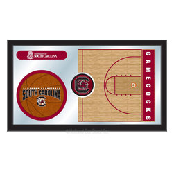 "Holland Bar Stool - Holland Bar Stool South Carolina Basketball Mirror - South Carolina Basketball Mirror belongs to College Collection by Holland Bar Stool The perfect way to show your school pride, our basketball Mirror displays your school's symbols with a style that fits any setting.  With it's simple but elegant design, colors burst through the 1/8"" thick glass and are highlighted by the mirrored accents.  Framed with a black, 1 1/4 wrapped wood frame with saw tooth hangers, this 15""(H) x 26""(W) mirror is ideal for your office, garage, or any room of the house.  Whether purchasing as a gift for a recent grad, sports superfan, or for yourself, you can take satisfaction knowing you're buying a mirror that is proudly Made in the USA by Holland Bar Stool Company, Holland, MI.   Mirror (1)"