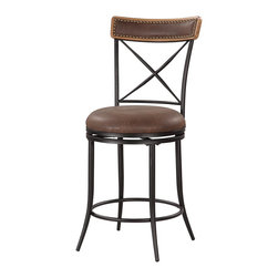 """Linon Home Decor - Linon Home Decor X Back Metal Counter Stool X-U10LTM455430 - The X Back Metal Counter Stool mixes transitional styling with contemporary appeal. The black finished stool is accented with an X designed back which is finished with a brown wood topper. The wood top has a Brown PU center that is trimmed in an antique bronze nailheads. A swivel seat is plushly upholstered in Brown PU. Thin sturdy legs complete the look. 24"""" Seat Height. 275 pound weight limit."""