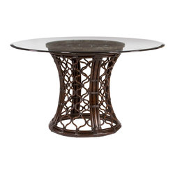 Hammary - Hammary Boracay Round Glass Dining Table w/ Rattan Pedestal - The Boracay Round Dining Table by Hammary  is inspired by island lifestyle.  The rattan table base is has a dark brown stain which creates a rich  exotic feel.  A Snakestone rim top supports the beveled glass surface and adds visual intrigue to the table.