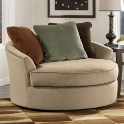 Signature Design by Ashley 7070421 Laken Oversize Round Swivel Chair