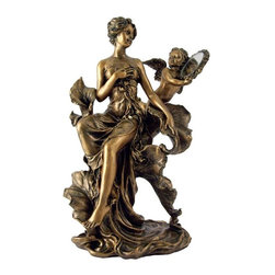 TLT - 9 Inch Hand Painted Art Nouveau Lady with Angel Replica Statue - This gorgeous 9 Inch Hand Painted Art Nouveau Lady with Angel Replica Statue has the finest details and highest quality you will find anywhere! 9 Inch Hand Painted Art Nouveau Lady with Angel Replica Statue is truly remarkable.