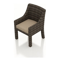 Forever Patio - Bayside Modern Patio Dining Armchair, Spectrum Mushroom Cushions - The Bayside Dining Arm Chair (SKU FP-BAY-DAC-SW-SM) features sweeping armrests that characterize the contemporary look of the Bayside collection. The Stone Wood wicker is infused with color and UV-inhibitors, creating a look that will last throughout the seasons. It also sports a thick, flat-weave design that is brimming with modern beauty. This dining chair includes fade- and mildew-resistant Sunbrella cushions; the industry's best outdoor fabric.