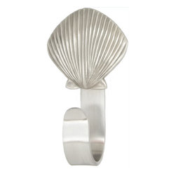 """Scallop Shell Coat Hooks - Scallop Shell Coat Hooks designed by Peter Costello. Cast in fine pewter, mounted on a custom made aluminum hook. Approximately  5.5"""" tall. Available in custom powder coat colors and shiny chrome."""