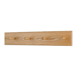 "PegandRail - Solid Oak Shaker Peg Rack 4.5"" Extra Wide - Hand Crafted in the USA, Natrual, 23 - Made in The USA"