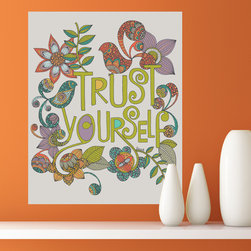 "My Wonderful Walls - Floral Quote Art Wall Sticker Decal – Trust Yourself by Valentina Harper, Small - - Product: decal of the quote ""Trust Yourself"" with flowers and bird art"
