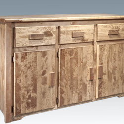 """Montana Woodworks - Homestead Sideboard, Stained and Lacquered - From Montana Woodworks, the largest manufacturer of handcrafted, heirloom quality rustic furnishings in America comes the Homestead Collection line of furniture products. Handcrafted in the mountains of Montana using solid, American grown wood, the artisans rough saw all the timbers and accessory trim pieces for a look uniquely reminiscent of the timber-framed homes once found on the American frontier. This quality sideboard is designed to withstand decades of daily use. Truly an heirloom quality item. Use the sideboard in your kitchen or dining room to serve food or display your fine serving dishes. Three raised panel doors conceal a large storage area measuring approximately 50"""" W x 18"""" D x 20"""" H. The sturdy fixed wooden shelf in the storage area measures 50"""" W x 18"""" D x 3/4"""" thick and is centered in the storage area, allowing approximately 10"""" of space above and below the shelf. Each of the three drawers measure 11"""" W x 17"""" D x 5"""" H. Comes fully assembled. 20-year limited warranty included at no additional charge. Hand Crafted in Montana U.S.A.; Solid, U.S. grown wood; Timbers and Trim Pieces are Sawn Square for Rustic Timber Frame Design Appearance; Heirloom Quality; 20 Year Limited Warranty; Durable Build, Fit and Finish; Each Piece Signed By The Artisan Who Makes It; Solid Wood, Edge Glued Panels; Easy Glide Drawer Slides and Quality Hinges. Dimensions: 55""""W x 21""""D x 36""""H"""