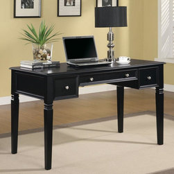 Coaster - Black Transitional Desk - This versatile desk offers two storage drawers and keyboard drawer in the center. Power plug is hidden into the top of the desk for a quick plug and play of your electronics. Finished in a rich black, with nickel finish hardware.