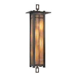 Fine Art Lamps - Capistrano Outdoor Coupe, 401681ST - When something this tall, dark and handsome is on your doorstep, you should let it in. The Mission styling in dark bronze is stretched to its max and features dusky, ridged amber glass for a golden afterglow that's truly swoon-worthy.