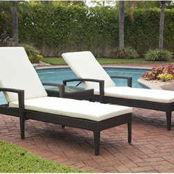 Carribbean Outdoor Wicker Chaise - Caribbean Collection outdoor wicker chaise has an adjustable back and cushion.