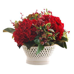 Jane Seymour Botanicals - Hydrangea Magnolia in Vermeil Container - An elegant centerpiece for your table, this permanent floral arrangement features hydrangeas, holly, rosehips and magnolia buds and foliage. Set in a ceramic bowl container, this festive red and green display can be enjoyed year after year.