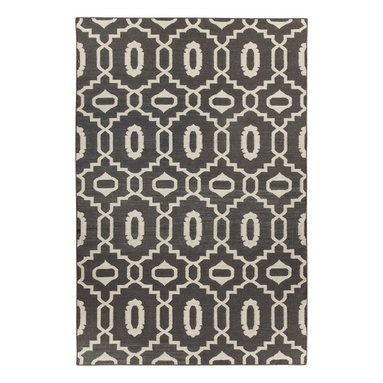 """Moor rug in Pigeon - """"I must've lived many past lives in the middle east as it's one of the most inspiring places on earth to me.  The curves and intersections of pattern are dizzying and romantic.  Every season needs a lattice pattern, this is ours for Spring."""" - Genevieve Gorder"""